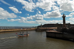 Whitby (Mike.Dales) Tags: whitby harbour pier lighthouse barkendeavour boat riveresk northsea northyorkshire england