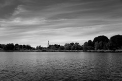 Berlin, Malchower See (tom-schulz) Tags: x100f rawtherapee gimp monochrom bw sw berlin thomasschulz see teich wasser ufer wellen bäume strommast schilf himmel wolken