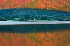 Bassenthwaite sundown (snowyturner) Tags: lake cumbria reflections church summer trees landscape fells evening sundown