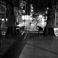 On the sidewalk bench (pascalcolin1) Tags: paris13 homme man banc bench miroir mirror reflet reflection lumière light nuit night arbre tree photoderue streetview urbanarte noiretblanc blackandwhite photopascalcolin 50mm canon50mm canon