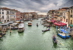 River traffic (Jan Kranendonk) Tags: boats ferry vaporetto bollards poles restaurants cafe cafeteria canal grande venice italy italian europe european water architecture buildings mansions palazzo people sky clouds cloudy quay waterfront river historical hdr jetty jetties gondolas transport public transportation