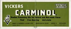 Advertising blotter for Carminol wool processing oils issued Benj. R Vickers, Leeds, UK - c1960 (mikeyashworth) Tags: mikeashworthcollection leeds benjaminrvickers oil woollenindustry carminol blotter advertising c1960 graphicdesign typeface typography ephemera tradeephemera westyorkshire