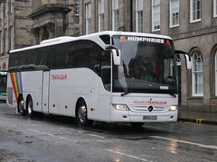 Humphries Coaches of Thatcham, Coach Miles, Mercedes Benz Tourismo BX64CZU, in Trafalgar Tours livery, at Waterloo Place, Edinburgh, on 6 May 2019. (Robin Dickson 1) Tags: humphriesofthatcham busesedinburgh coachmiles trafalgartours mercedesbenztourismo bx64czu