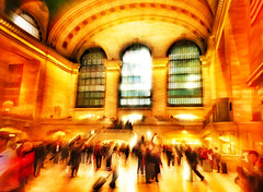 The Golden Days of Grand Central Station (jackaloha2) Tags: nyc newyorkcity grandcentralstation crowds people travel interior interiors light rays golden texture textures vividcolor challenge surreal colorful vivid building station train trainstation