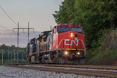 Say, here he is! (travisnewman100) Tags: csx canadian national cn train railroad unit freight grain etowah subdivision atlanta division ge c408w es40dc c409w yn3 v366 cartersville georgia