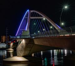 Prince Memorial Lighting Lowry Avenue Bridge 3 - Minneapolis, MN  (Explored 05/02/2019) (j-rye) Tags: lowrybridge minneapolis night lights reflections sonyalpha sonya7rm2 ilce7rm2 mirrorless river water
