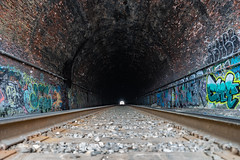 Light at the End of the Tunnel (mattb105) Tags: travel train exploration exploring street urban maryland tunnel graffiti art brick grunge