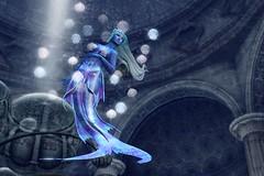 Dream in Blue (LiangScorpio) Tags: temple fin blue lyrics poem jellyfish water underwater fallengodsinc mermaid secondlife sl