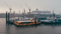 The Day Begins (Tom Levold (www.levold.de/photosphere)) Tags: fuji hamburg x100f wasser elbe harbour ships nebel schiffe water fog morgen morning hafen sunrise sonnenaufgang