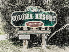 Coloma Resort (p) (davidseibold) Tags: america california coloma eldoradocounty jfflickr painting photosbydavid plant postedonello postedonflickr sign text tree unitedstates usa