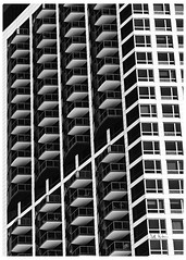 Don't Know Where To Finish (swanksalot) Tags: chicago windows wolfpoint tweeted perspective blackandwhite bw urbangeometry rivernorth riverwest explore explored 85mm