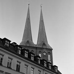 Nikolaikirche (csobie) Tags: bronicasqa 80mmf28ps k2 yellowfilter ilford hp5 analog film 120 6x6 mediumformat scan v600 epson church city berlin germany