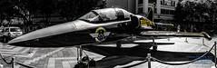 A STATIC BREITLING JET TEAM L-39 IN WESTLAKE (AvgeekJoe) Tags: aeroalbatros aerol39 aerol39c aerovodochodyl39 aerovodochodyl39albatros aerovodochodyl39c aerovodochodyl39calbatros albatros breitling breitlingjetteam l39c l39calbatros panorama selectivedesaturation trainer aircraft airplane aviation jet jetaircraft jettrainer photoshopadjusted plane