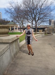 A Lovely Early May Sunday In Milwaukee (Laurette Victoria) Tags: milwaukee downtown marquettepark woman laurette dress silver sunglasses