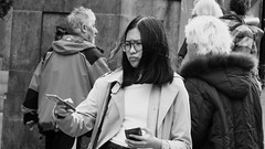 Tammy Two Phones (byronv2) Tags: edinburgh edimbourg scotland blackandwhite blackwhite bw monochrome oldtown asian woman phone cellphone mobilephone girl glasses royalmile mamaspizza pizza restaurant mammas table chair dining diner eating food grassmarket