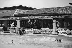 Flood due to heavy rain but kids still swimming at the river. (Andy @ Pang Ket Vui ( shootx2 )) Tags: tawau flood kids home sabah heavy rain d800 70300mm nikon having fun swimming dangerous aware river