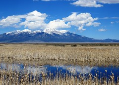Land of Sky Blue Waters (Patricia Henschen) Tags: sanluisvalley sangredecristo mountains blanca massif clouds spring wetland nwr nationalwildliferefuge alamosa colorado reflection