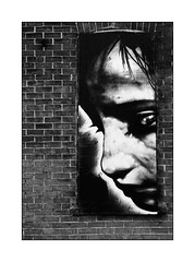 The wall (Jean-Louis DUMAS) Tags: abstract abstrait abstraction noir blanc noretblanc black white streetart art artistic artistique artist artdelarue artiste nb bw noiretblanc blackandwhite wall mur brique brick portrait fille femme woman