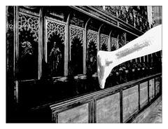 Anonymous Visitor runs away (Armin Fuchs) Tags: arminfuchs anonymousvisitor würzburg lavillelaplusdangereuse stburkardus angel leg diagonal church huawei smartphone wood