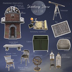 ..::THOR::.. Shooting Stars Gacha Set - Anthem Event (andraus thor) Tags: telescope observatory abbandoned stars shooting space poetry poem astronomy decor furnitures old vintage 3d metaverse secondlife props virtual homedecor