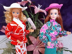 Barbie outfit comparison: Pret-A-Porter / Beverly Hills Fashion #3310 from 1986 / 1987 VS Private Collection / Couturier #7096 from 1990 (VintageZealot) Tags: barbie mattel 80s 90s 1980s 1990s 1986 1987 1990 wedding day midge dotw dolls of the world canadian pretaporter beverly hills private collection couturier 3310 7096 4928 9606 9852 vintage fashion doll clothing clothes outfit model modelling malaysia china superstar super star diva blonde caucasian white head auburn titian jewelry ring rings gold diamond crystal rhinestone earrings earring european exclusive plastic snaps jacket coat blazer suit flared skirt hat purse clutch scarf belt pumps retro