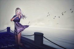 the flight (sunny.hanly) Tags: secondlife sl virtualworld game fashion originals art outfit clothes dress gem gems hair long blond aviglam choker maitreya lara photography peace avatar digitalart digitalphotography mesh bento laq gaia sunnysstudio deaddollz ks