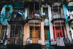 Colorful Yangon (desomnis) Tags: yangon street streetphotography streetshot 5d canon5dmarkiv canon5d tamronsp2470mmf28 tamron2470mm tamron2470mmf28 tamron tamron2470 traveling travel travelphotography urban veneer frontage front balcony colorful colourful asia southeastasia burma myanmar rangun desomnis