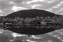 Hunnebostrand (shanahands2) Tags: hunnebostrand sweden town rocks harbour sky clouds reflection blackwhite