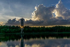 The Last Light (7:52 pm) (agasfer) Tags: 2019 southcarolina sony a6000 sonye2820 greenville furman swanlake carillon tower sky clouds sunset cloudsstormssunsetssunrises