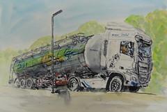 """L""""écomusé de Lochrist est derriere le camion du laitier (christian angué) Tags: camion citerne laitier transport lait ecomusé morbihan usk croqueur aquarelle bretagne france semiremorque truck"""