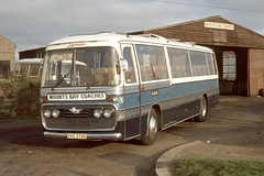 Mounts Bay Coaches ( Oxenham ) . Penzance , Cornwall . VXE278G  . Long Rock Garage , Penzance , Cornwall . Saturday 10th-September-1977 . (AndrewHA's) Tags: penzance cornwall mounts bay oxenham coaches bus coach leyland panther plaxton panorama vxe278g second hand seamarks luton bedfordshire