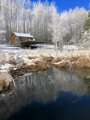 The Simple Life (cowgirlrightup) Tags: fog frost snow lake cabin cowgirlrightup