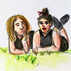 Beau temps. (Ceha :-)) Tags: croquis dessin esquisse drawing sketch people character spring crayondecouleur coloredpencils aquarelle watercolor