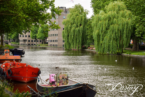 Boats on Amstel river