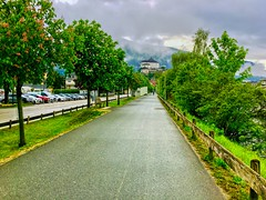 Trees lining path in Kufstein with fortress, Tyrol, Austria (UweBKK (α 77 on )) Tags: österreich tree blossom flower path walk hike weg baum blüte festung fortress kufstein tyrol tirol austria europe europa iphone