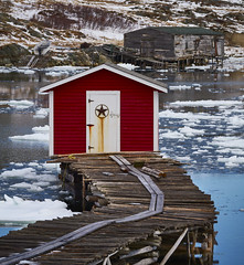 Fogo Fishing Huts (Valley Imagery) Tags: fogo island newfoundland canada huts water ice history red color wood harbour fishing boat sony a99ii 70400gii