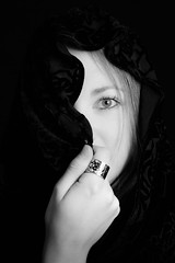 What I see... (soniamarmen) Tags: mystery blackwhite portrait woman skancheli