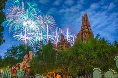 Mickeys Mix Magic over Big Thunder Mountain (Domtabon) Tags: bigthundermountainrailroad disneyland dl dlr disney disneylandresort fireworks frontierland mickeysmixmagic mousewait