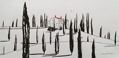 Toscane. (J-M.I) Tags: aquarelle art house architecture watercolour dessin illustration graphisme artiste exposition crayons de couleur encre chine toscane cyprès