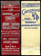 Mrs. Johnson's Chicken Dinner in Valparaiso, Indiana - Matchcover (Shook Photos) Tags: match matches matchcover matchcovers matchbook matchbooks smoke smoking advertise advertisement promotion promotional valparaisoindiana valparaiso indiana portercounty mrsjohnschickendinner restaurant cater catering food