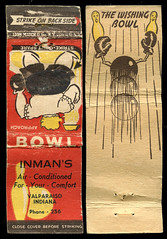 Inman's in Valparaiso, Indiana - Matchcover (Shook Photos) Tags: match matches matchcover matchcovers matchbook matchbooks smoke smoking advertise advertisement promotion promotional valparaisoindiana valparaiso indiana portercounty bowl bowling tenpin bowlingalley bar recreation bowlers inmans