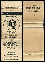 Glass Chimney Restaurant and Lounge in Valparaiso, Indiana - Matchcover (Shook Photos) Tags: match matches matchcover matchcovers matchbook matchbooks smoke smoking advertise advertisement promotion promotional valparaisoindiana valparaiso indiana portercounty glasschimneyrestaurantandlounge restaurant lounge food bar eatery samconde