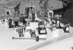 Trophies, 1963 (clarkfred33) Tags: trophy dragrace award thunderbird 1963 vintage vintagephoto gold competition compete