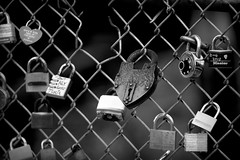 Locks 2 (Alexander Day) Tags: lock locks heart hearts fence chain chains water portsmouth new hampshire blackandwhite monochrome vignette alex alexander day