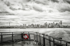 Past Tense (Candy McDonald) Tags: seattle skylines cityscape clouds blackandwhite selectivecolor nikond5000 photoshop nikcollection topazstudio fineartphotography