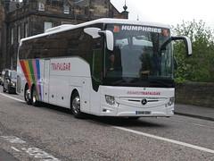 Humphries Coaches of Thatcham, Coach Miles, Mercedes Benz Tourismo OH18ODH in Trafalgar Tours vinyls, OH18ODH at Johnston Terrace, Edinburgh, on 30 April 2019. (Robin Dickson 1) Tags: coachmiles busesedinburgh humphriesofthatcham oh18odh trafalgartours