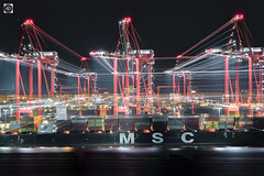 Terminal Insanity. (alundisleyimages@gmail.com) Tags: liverpool2containerterminal lenszoomtechnique cranes industriallandscape art creativephotography longexposure night photography maritime msc shipping liverpool wirral rivermersey stars weather effect lights containers goods trade uk