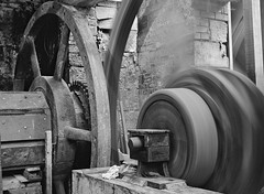 Factory spinning wheel (douglasjarvis995) Tags: bronica bnw mono film ilford xp2 abbeydale sheffield 75mm medium format etrs wheel factory steel works