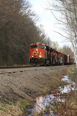 Little Bit of Reflection (Acronym Railroad) Tags: cn 2317 es44dc ge general electric gevo canadian national railroad locomotive pensaukee wisconsin