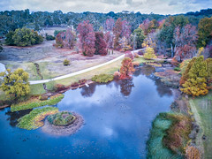 """Autumn in the hills (cheezepleaze) Tags: farm pond autumn trees boat fromabove ducks reflection fall leaves drone mavicpro """"nolochnessmonsterhere"""" kangaroos blackalpacas"""